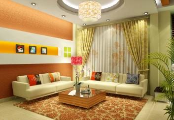 Phòng khách mùa hè với màu sắc thiên nhiên