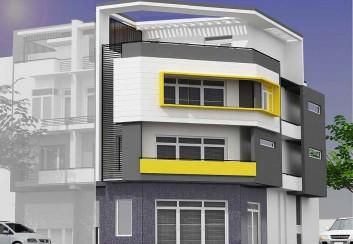 Thiết kế nhà 4 tầng trên đất vát góc