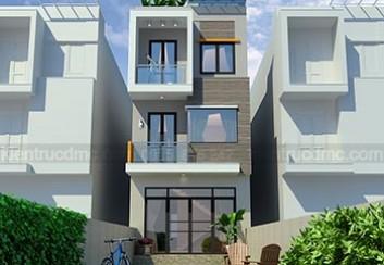 Thiết kế nhà lô phố mặt tiền 5m trên đất 137m2