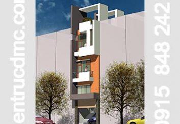 Thiết kế nhà phố 4 tầng đẹp mặt tiền 4,5m