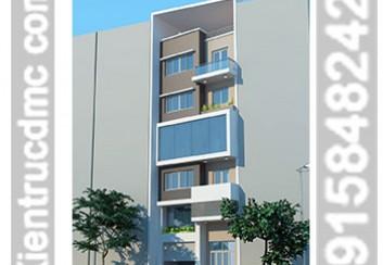 Thiết kế nhà phố 7 tầng mặt tiền chéo