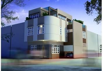 Thiết kế nhà phố 3 tầng 2 mặt tiền cạnh vát chéo