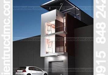Thiết kế nhà phố lệch tầng 2 mặt tiền 90m2