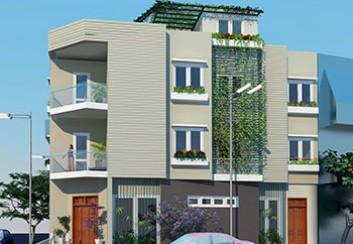Thiết kế nhà phố căn góc 2 mặt tiền đất méo