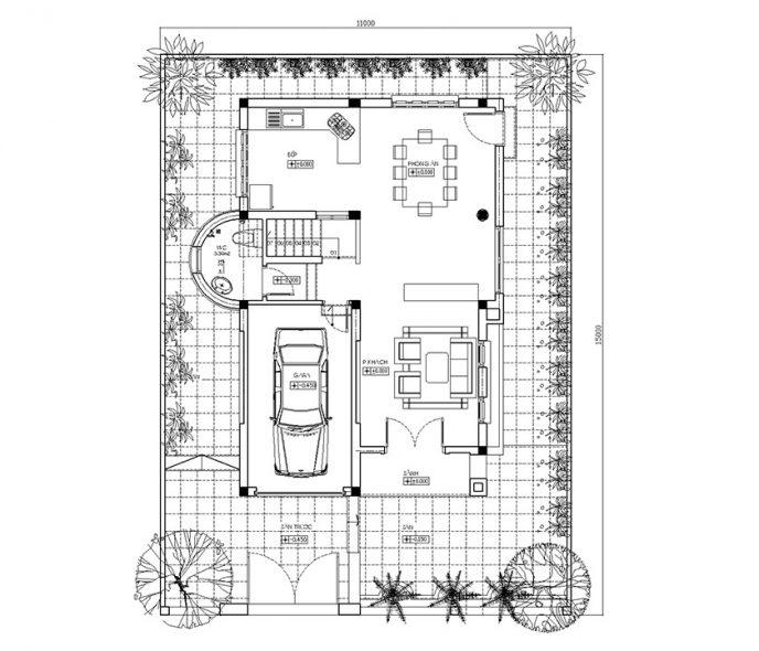 Thiết kế biệt thự hiện đại trên đất 165m2