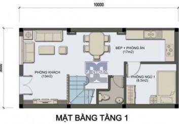 Thiết kế nhà phố 2 tầng 50m2