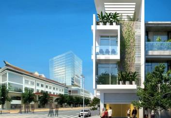 Thiết kế nhà phố hai mặt tiền 4,85m x 15m