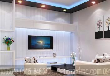 Thiết kế nội thất phòng khách – ti vi điểm nhấn không gian