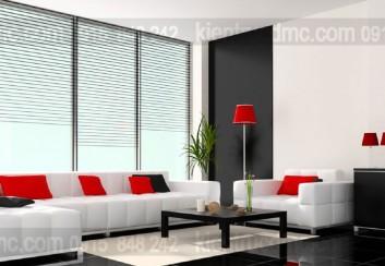 Tư vấn thiết kế nội thất phòng khách với điểm nhấn trên tường