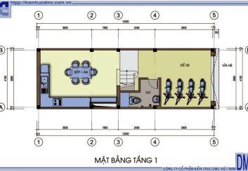 Thiết kế nhà 4 tầng diện tích 4,1m x 12m