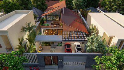 Thiết kế biệt thự phố 2,5 tầng hiện đại nhiều cây xanh