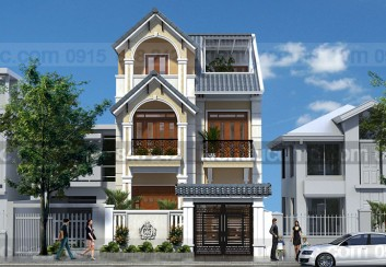 Thiết kế biệt thự phố 3 tầng mặt tiền 7.5m