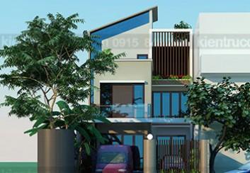 Thiết kế biệt thự phố 2 mặt tiền 3 tầng