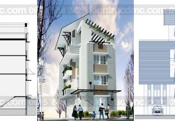 Thiết kế nhà phố 2 mặt tiền kết hợp kinh doanh