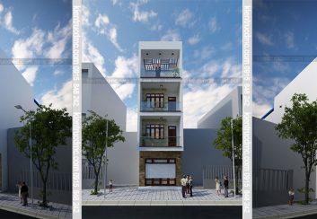 Thiết kế nhà phố 3,5 tầng mặt tiền 4,5 diện tích 81m2