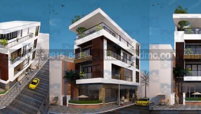 Thiết kế nhà phố căn góc hai mặt tiền kết hợp kinh doanh