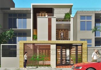 Thiết kế nhà phố mặt tiền 7.5m hướng Tây