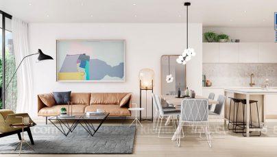 Thiết kế nội thất phòng khách mùa hè tràn ngập sắc màu thiên nhiên