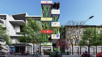 Thiết kế Trường mầm non Sơn Ca 4 tầng phong cách hiện đại