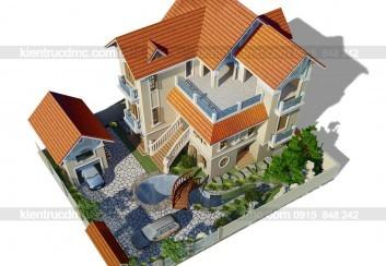 Thiết kế nhà vườn biệt thự kiểu Pháp